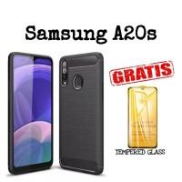 Softcase Samsung A20s Carbon Ipaky Free Pelindung Layar