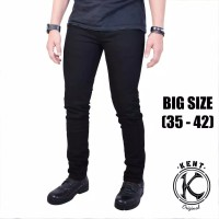 Celana Jeans Pria Kent Original Slim Fit Denim Stretch Big Size Black - XXL