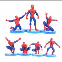 Action Figure Spiderman Mini Set Pajangan Dan Hiasan Kue Ulang Tahun