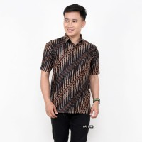 Kemeja Batik Pria Lengan Pendek Abu Baju Seragam Batik Pria Pekalongan