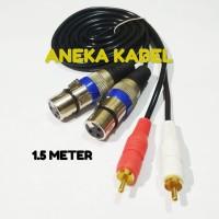 Kabel Audio 2 XLR Pin 3 Female To 2 RCA Gold Plate Male 1.5 Meter Tebl