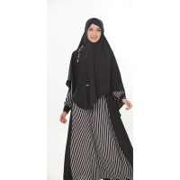 Gamis Medina Stripe Black Set Ori Aulia Fashion