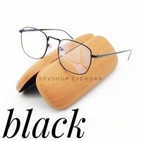 Kacamata Kotak Vintage Retro Minimalis Free Lensa Minus