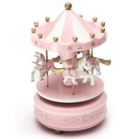 Kotak Musik Merry Go Round Musical Box Carousel - HD-YYH - Pink