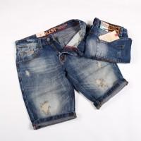 celana pendek denim sobek/ripped pria/Celana jeans - Cokelat Tua, 31