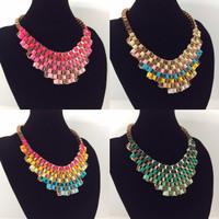 [READY] Statement Necklace Kalung Pesta Collar Kerah Pita Pink Rainbow