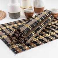 UCHII Wooden Placemat Natural Gold Box Paket Tatakan Alas Piring Makan
