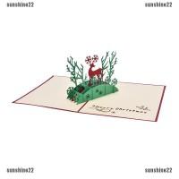 Kartu Natal Pop Up 3D Motif Rusa untuk Ucapan Selamat