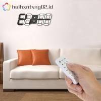 Jam Dinding Digital LED Besar 3D Warna Hitam dengan Remote Control