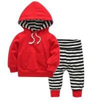 (PROMO) Toddler Baby Boys Cotton Hoodies Sweater Stripe Pants