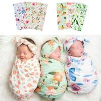 (PROMO) Sleeping Bag / Kantung Tidur Bayi Motif Bunga dengan Bandana