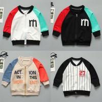 (PROMO) Baby Boy Alphabet Print Casual Zipper Patchwork Sweatshirt