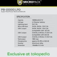 Unik Micropack Power Bank 10 000 mAh Power Delivery 18w PB 10000 LPD