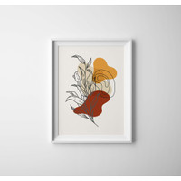 Bingkai Poster Flowery Geometric/Frame Poster Flower Geometric (Mediu)