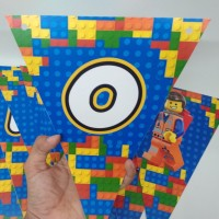 bunting flag lego / bendera happy birthday lego / custom lego