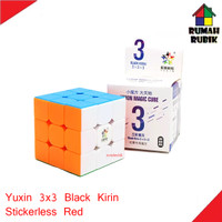 Rubik 3x3 Yuxin Black Kirin Stickerless Red / Rubik Murah