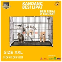 Kandang Tingkat EXTRA JUMBO Besi Tebal Lipat Size XXL 95x63x55 Kucing
