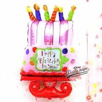 balon foil kue tart JUMBO / balon cake ultah / balon kue lilin pink