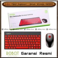 Paket Keyboard Mouse Wireless Robot KM3000 Red Black PC Komputer
