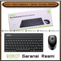 Paket Keyboard Mouse Wireless Robot KM3000 Full Black PC Komputer