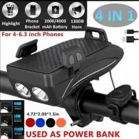 BICYCLE 4 IN 1 POWERBANK + PHONE HOLDER + BELL + LAMPU SEPEDA CAS