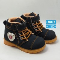 Sepatu Anak Boots Tali Velcro Hitam Usia 1 2 3 4 5 Tahun Bahan Suede