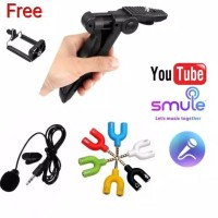 Paket Vloger youtuber tripod tangan mic clip on dan spliter holder u