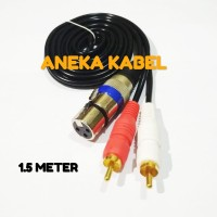 Kabel XLR pin 3 FEMALE To 2 RCA Gold Plate L/RnMale 1.5 Meter