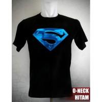 Kaos Superman Blue Metallic Logo Ukuran S sd XL