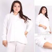 Kemeja Kerja Wanita Putih Polos Jumbo Lengan Panjang Baju Bigsize