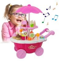 Troli/Gerobak Toko Permen/Es Krim untuk Mainan Anak Perempuan
