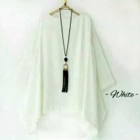 jumbo bigsize blouse muslim wanita blus outfit kemeja hem tunik putih