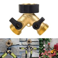 PROMO 3/4 Inch 2 Way Brass Hose Faucet Manifold Garden Tap