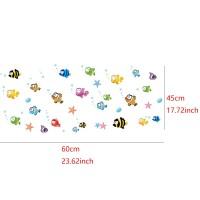 Stiker Dinding Decal Desain Kartun Ikan untuk Kamar Tidur Anak Kecil