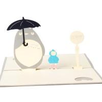 Syh Kartu Ucapan Desain Totoro 3D Hollow untuk Festival / Ulang
