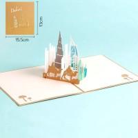 Syh Kartu Ucapan Desain Bangunan Kota 3D Kreatif untuk Festival /
