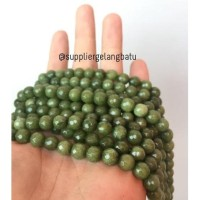 Batu Beads Cutting 8Mm Moss Agate Hijau Kilap Grade A Aksesoris Korea