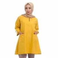 Baju Atasan Tunik Wanita Muslim Blouse Monna Jumbo - Putih, Xxl