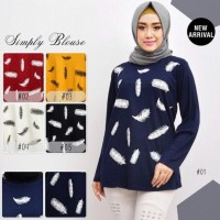 Kaos Muslim/Blouse Muslim/Kaos Motif Bulu Angsa - Putih