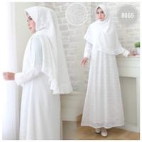 Baju Gamis Wanita Brukat / Syari Putih Lebaran Umroh Haji