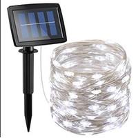 Lampu taman hias pesta solar panel peri tumblr LED 10m copper fairy