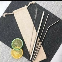 5in1 5 in 1 sedotan stainless steel straw food grade pouch anti karat