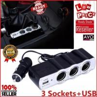 charger mobil 3 socket plus usb car saver triple socket and usb port