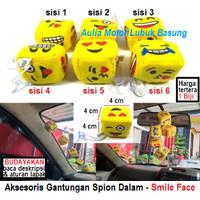 aksesoris gantungan spion dalam mobil boneka dadu smile 4 cm kuning