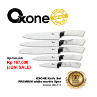 Oxone Knife Set White Marble 5pcs OX617 / Pisau Exclusive anti karat