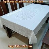 Taplak Meja Makan Putih Anti Air Waterproof Persegi 6 - 8 kursi