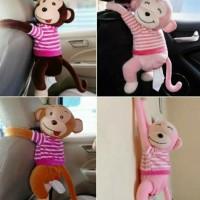 Tempat Tissue Mobil Lucu Kotak Tissue Monyet Lucu Aksesoris Mobil - Merah Muda