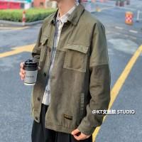 Jaket Corduroy Lengan Panjang Bahan Katun Ukuran M-2xl Untuk Pria