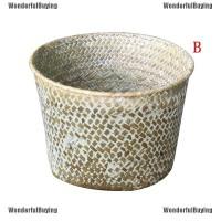 Wbid Keranjang Laundry / Pakaian Kotor Bahan Rotan Motif Rumput