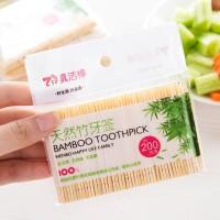 200Pcs Tusuk Gigi Dental Floss Bahan Bambu